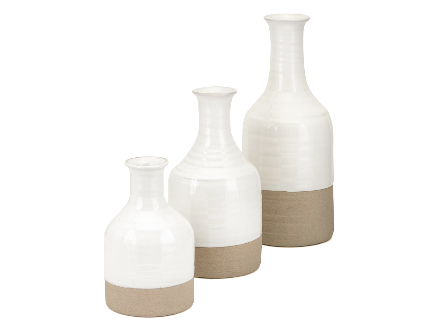 "Set of 3 Ivory and Camel Ceramic Vases 4.75-5-5.5""W x 8-10.5-14""H"
