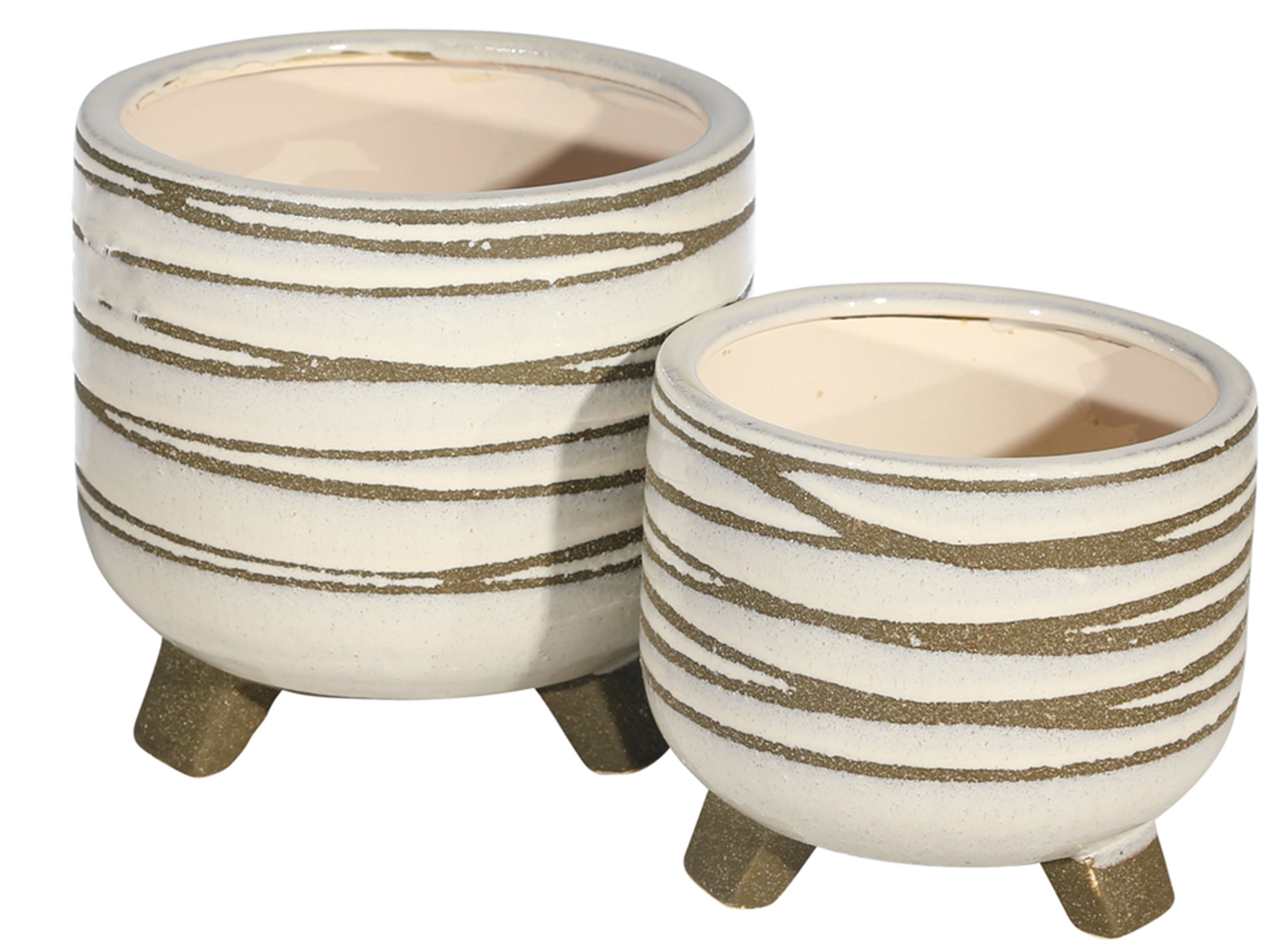 "Set of 2 Cream and Taupe Planters 6/8""W x 6/8""H"