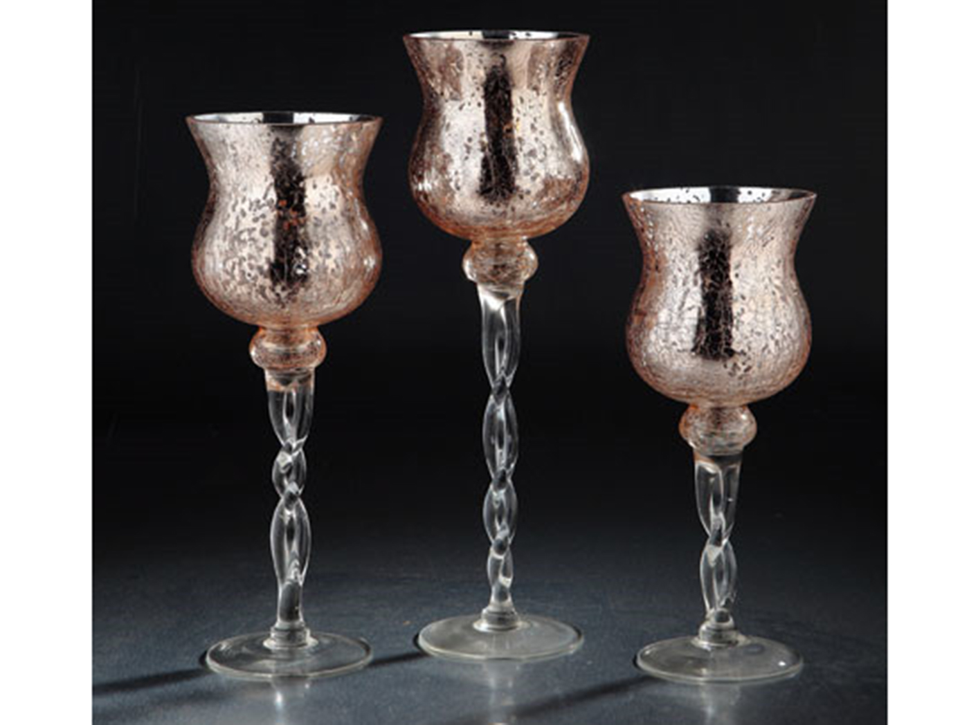 "Set of 3 Rose Gold Glass Candleholder 12/14/15.5""H"