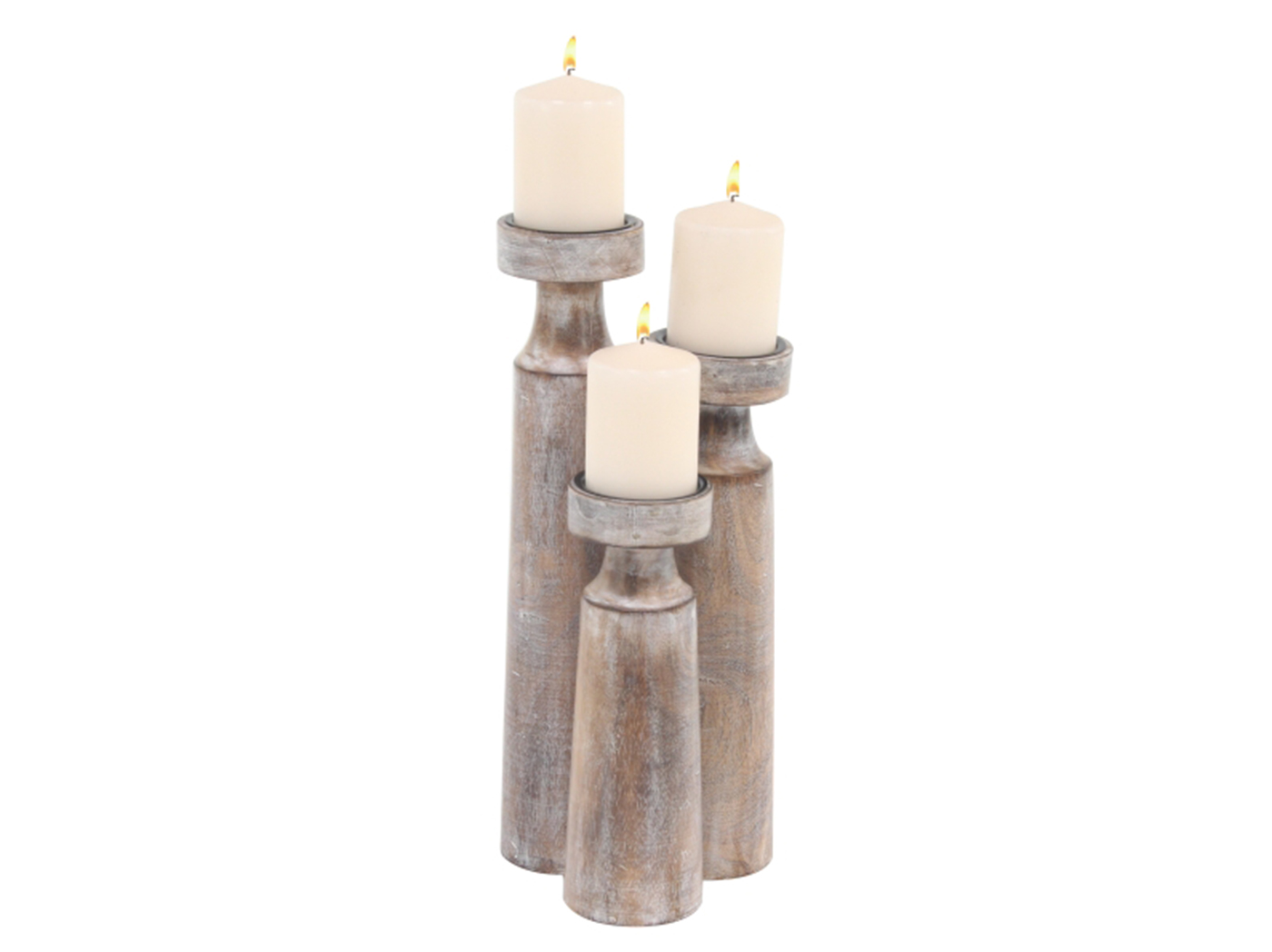 "Set of 3 White Wood Rubbed Candleholder 10/14/18""H"