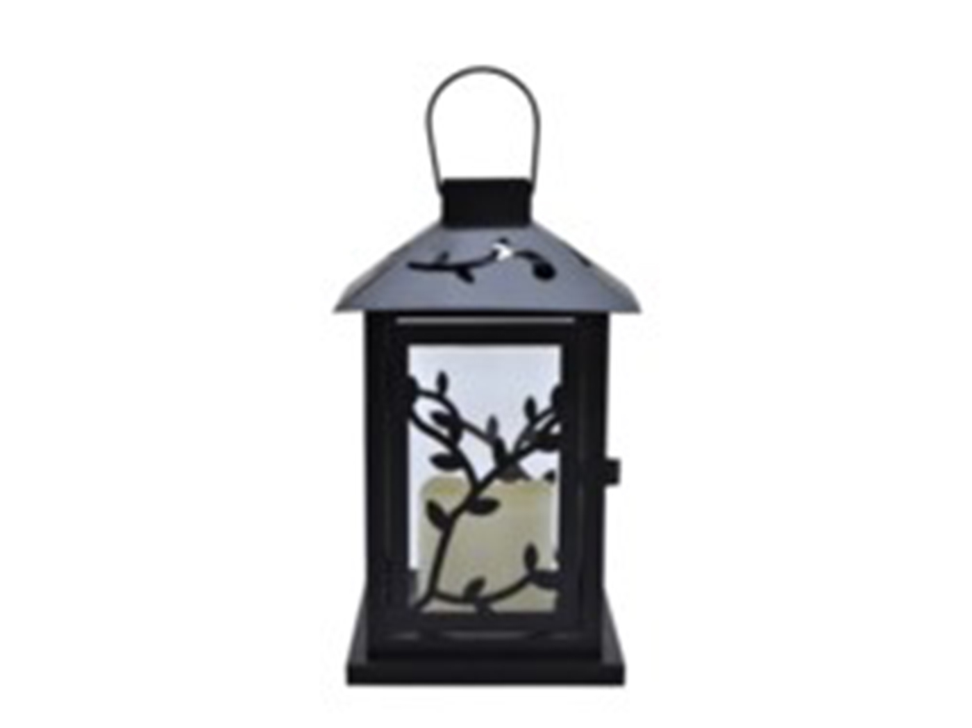 "Black Metal Branch Lantern 6""W x 10""H"
