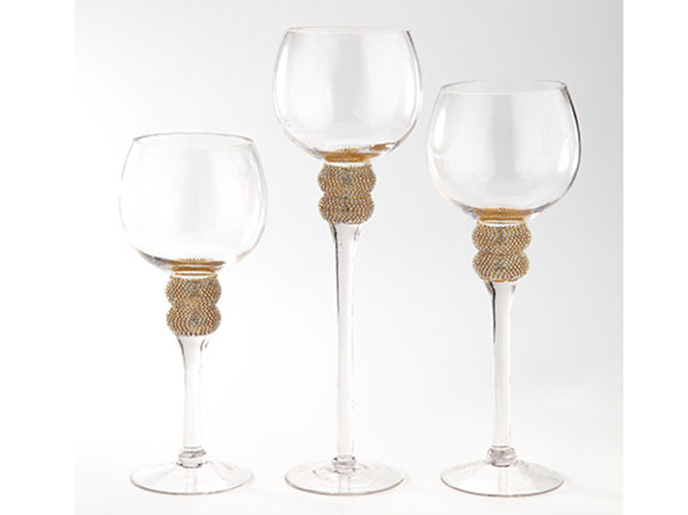 "Set of 3 Gold Bling Trim Candleholders 12""/15.5""/19.5""H"
