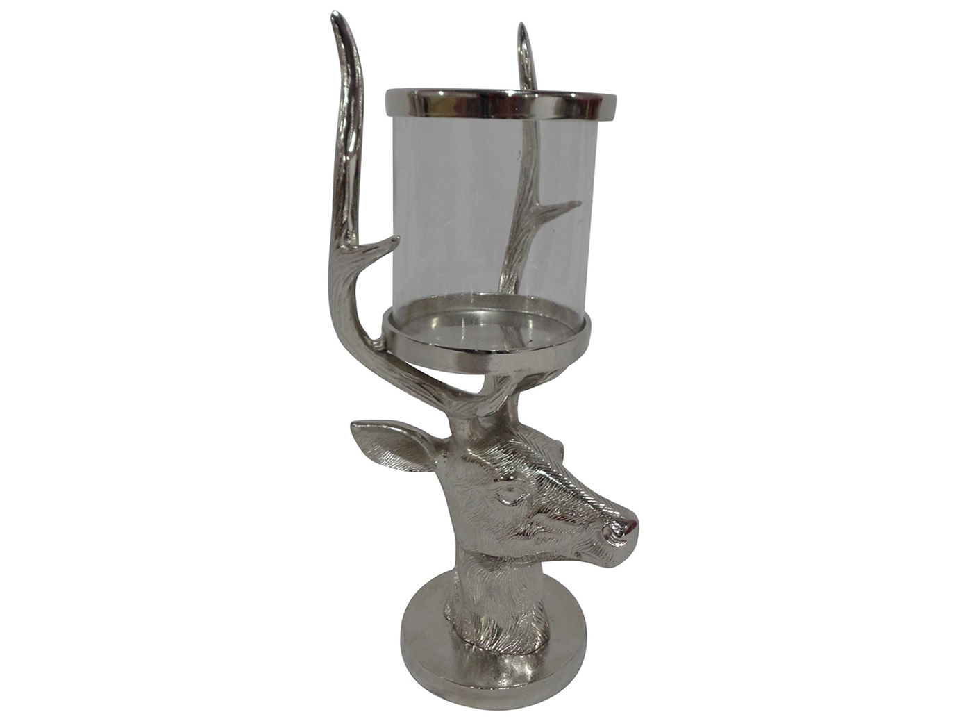 "Aluminum and Glass Stag Candleholder 9.5""W x 20""H"