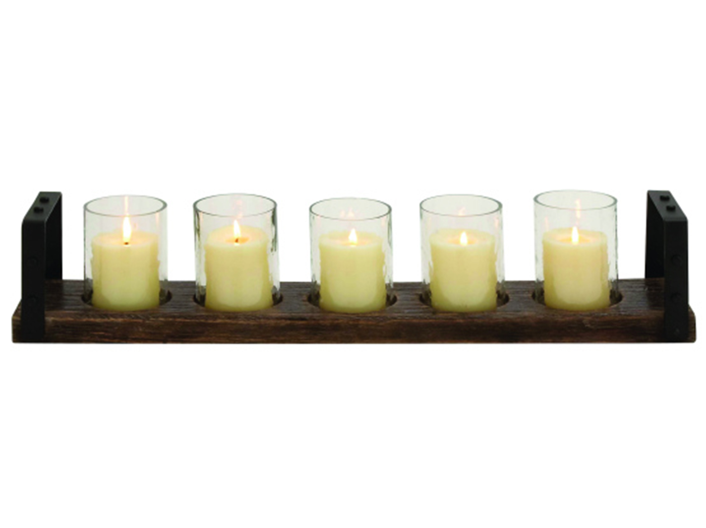 "Five Glass Candleholders In Wood Tray 28""L x 5""H"