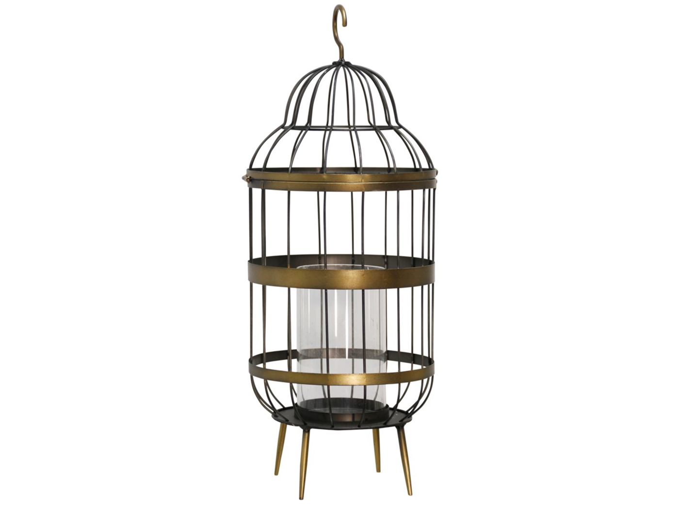 "Brass Metal Caged Candleholder 10""W x 25""H"