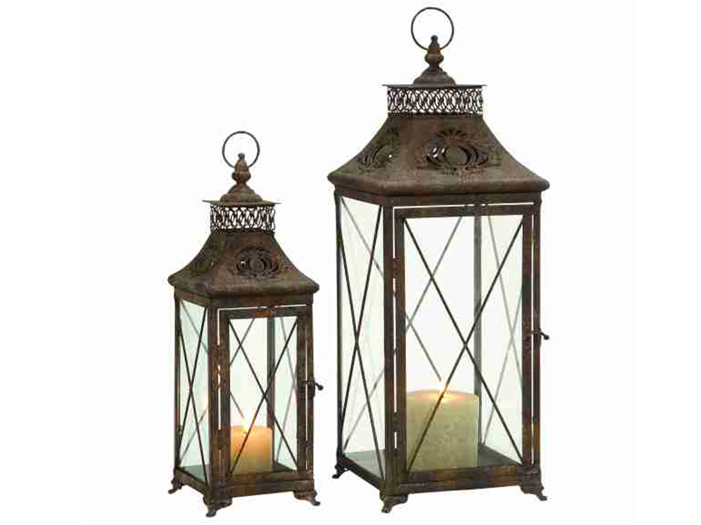 "Set of 2 Antique Bronze Metal/Glass Lantern 18/24""H"