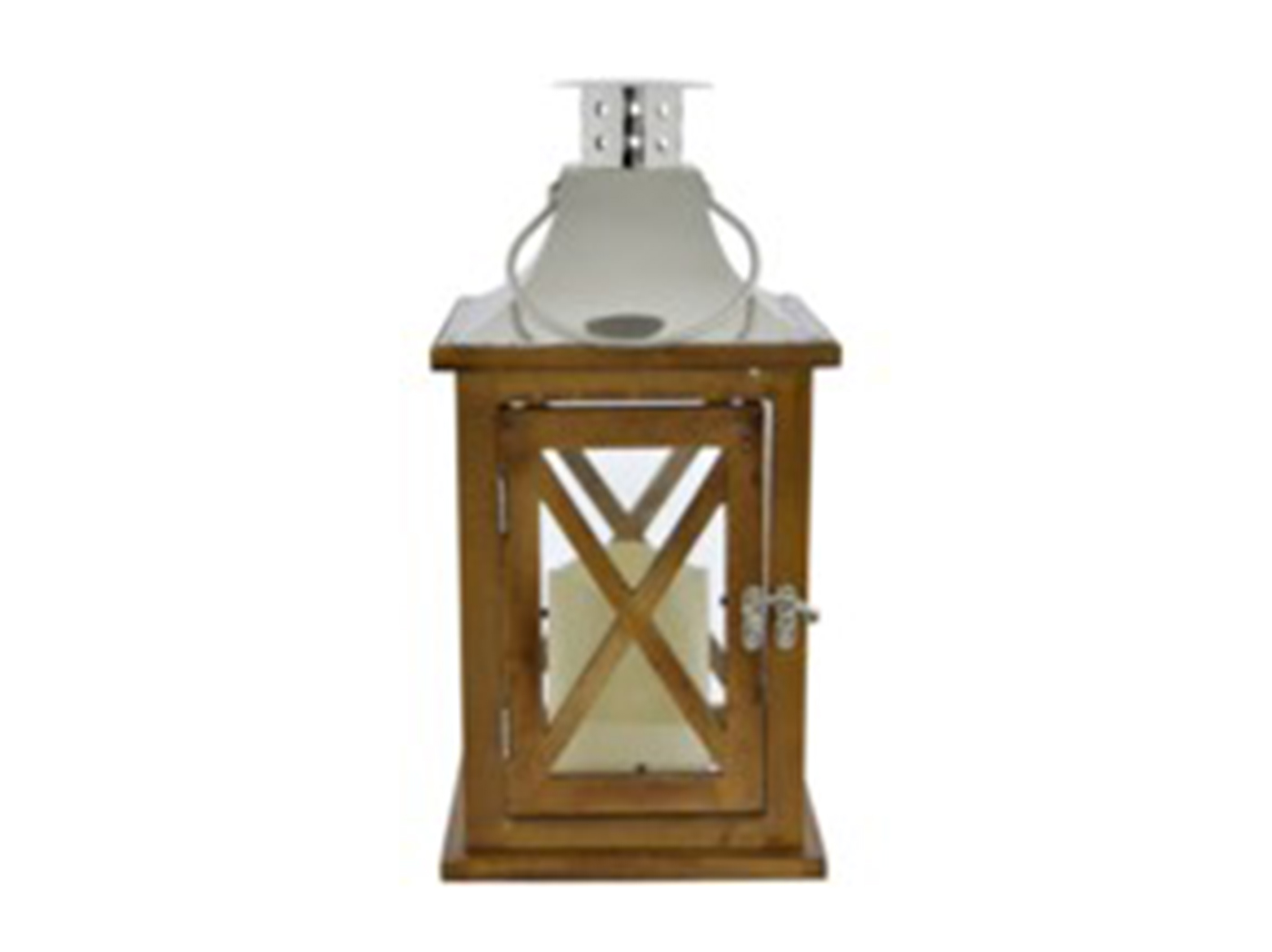 "Wood and Metal Lantern 6""W x 12""H"