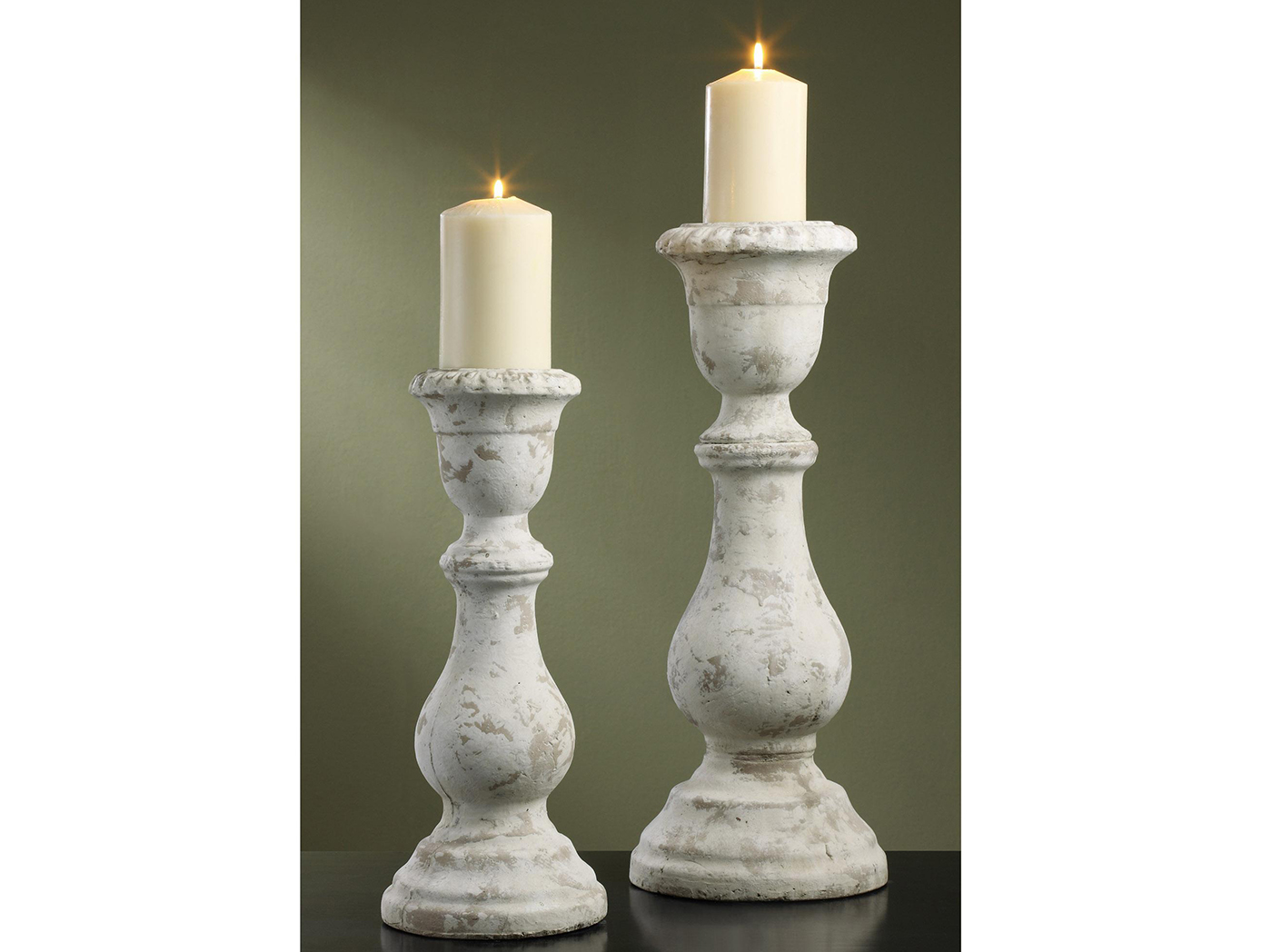 "Set of 2 Antique White Candleholder 16/20""H"