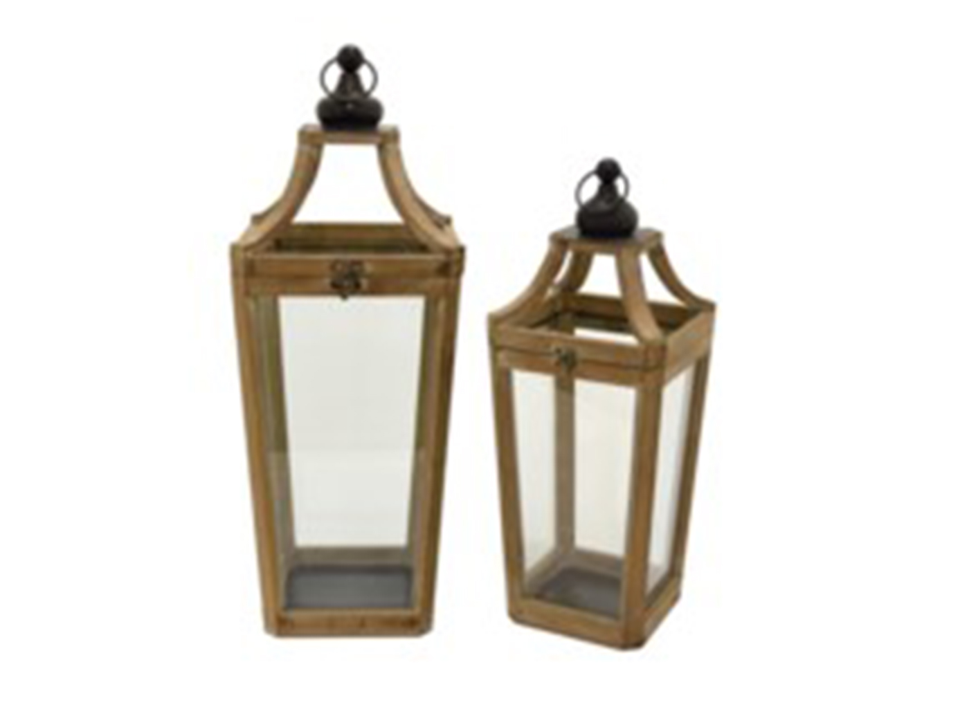 "Set of 2 Wood Lanterns 11""W x 26""H"