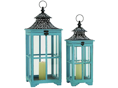 Set of Two Aqua Lanterns