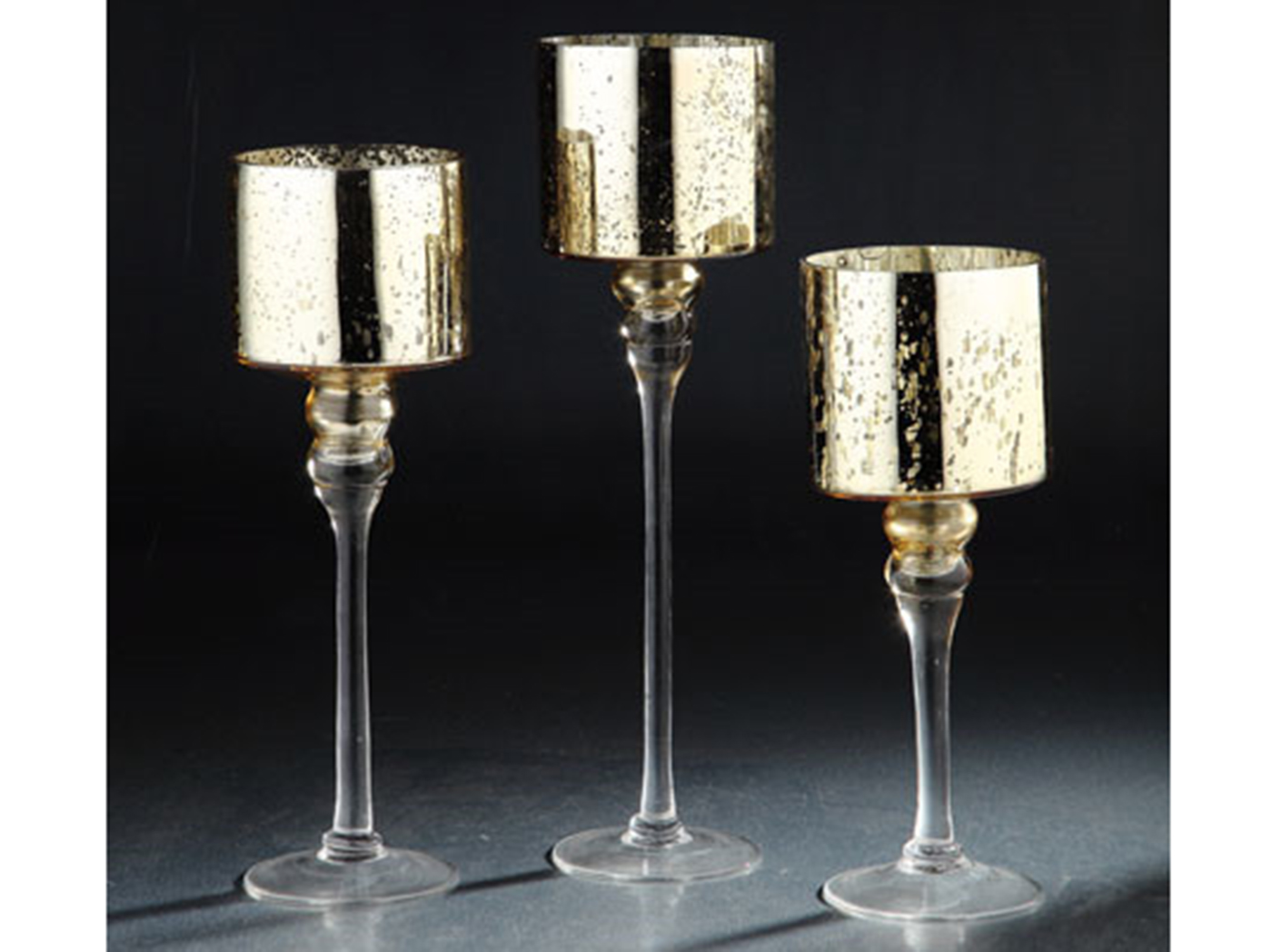 "Set of 3 Gold Mercury Glass Candleholder 12/14/15.5""H"