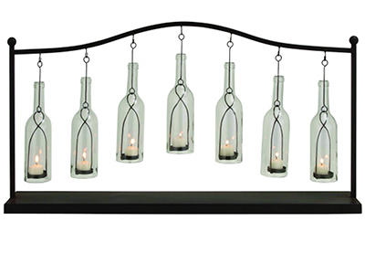 "Seven Glass Bottles In Metal Stand Candle Holder 36""W x 20""H"