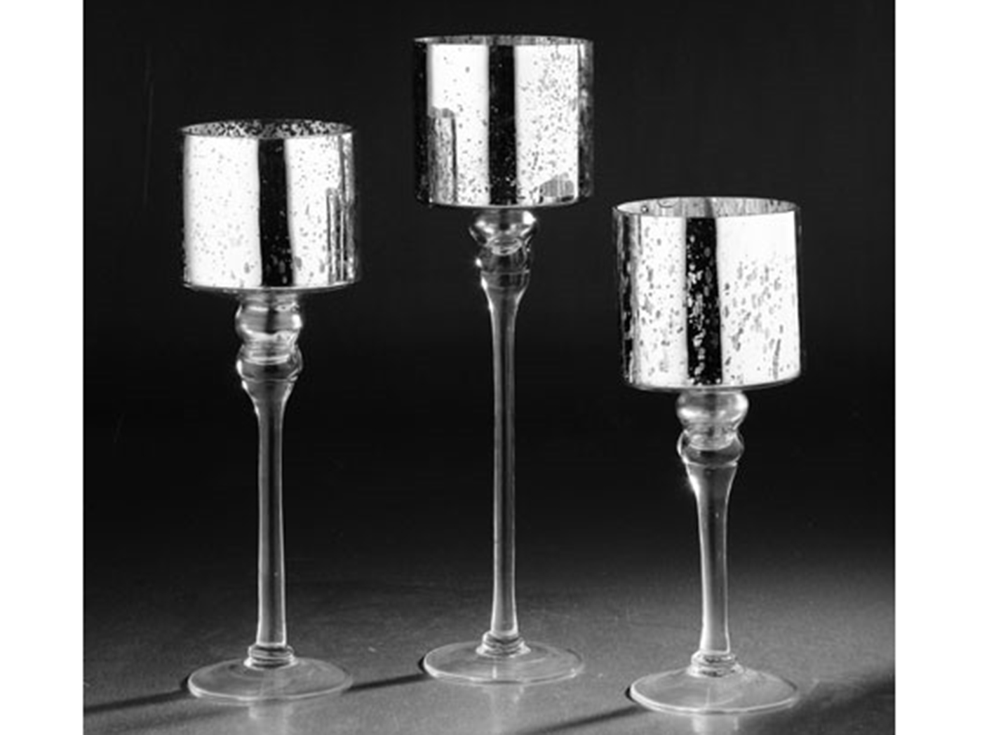 "Set of 3 Silver Mercury Glass Candleholder 12/14/15.5""H"