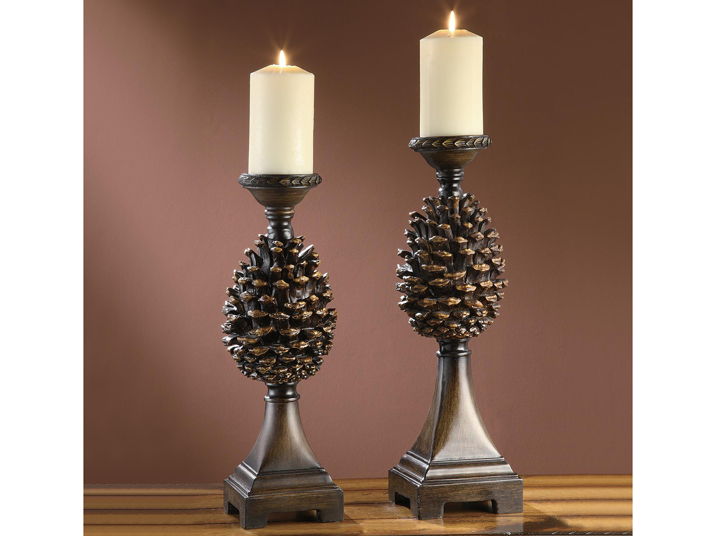 "Set of 2 Pinecone Candleholders 17/18.5""H"
