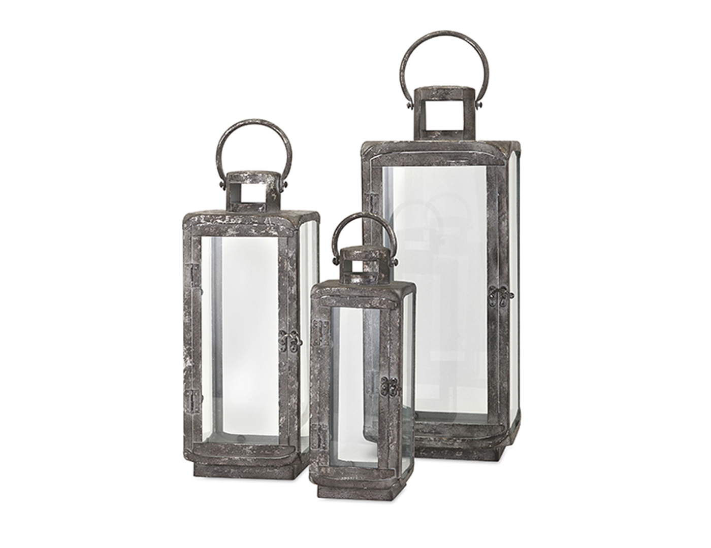 "Set of 3 Distressed Metal Lanterns 8""X12-20""H"