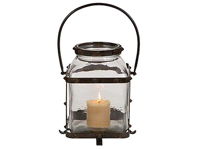 "Large Glass With Metal Handle Lantern 10""W x 17""H"