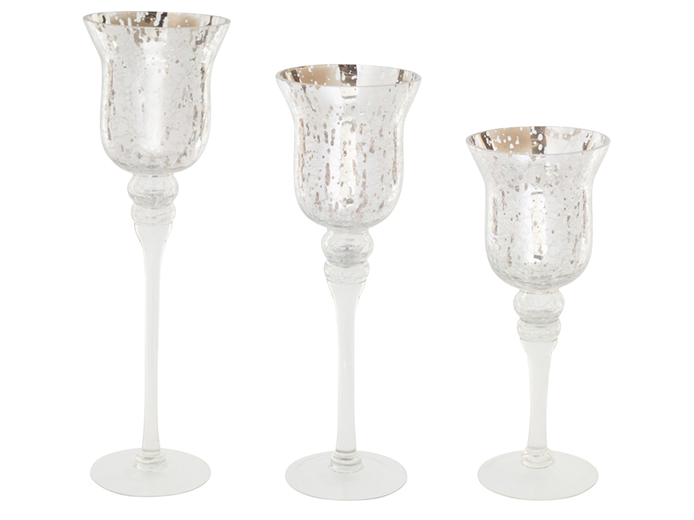 "Set of 3 Silver Mercury Glass Candleholders 12-13""H"