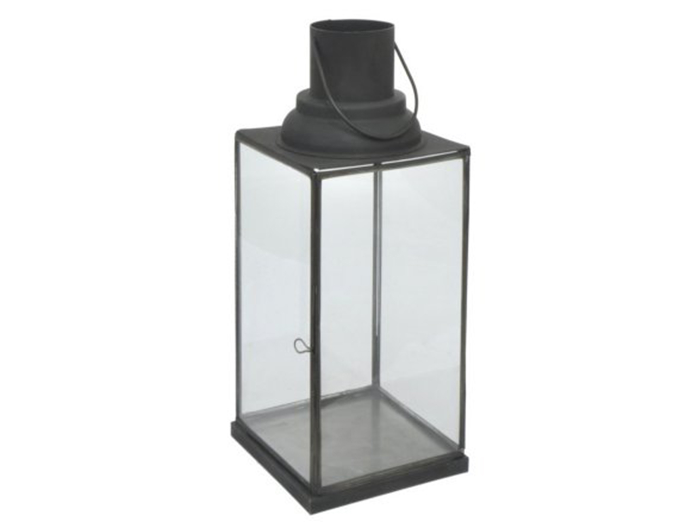 "Black Metal and Glass Lantern 18""H"