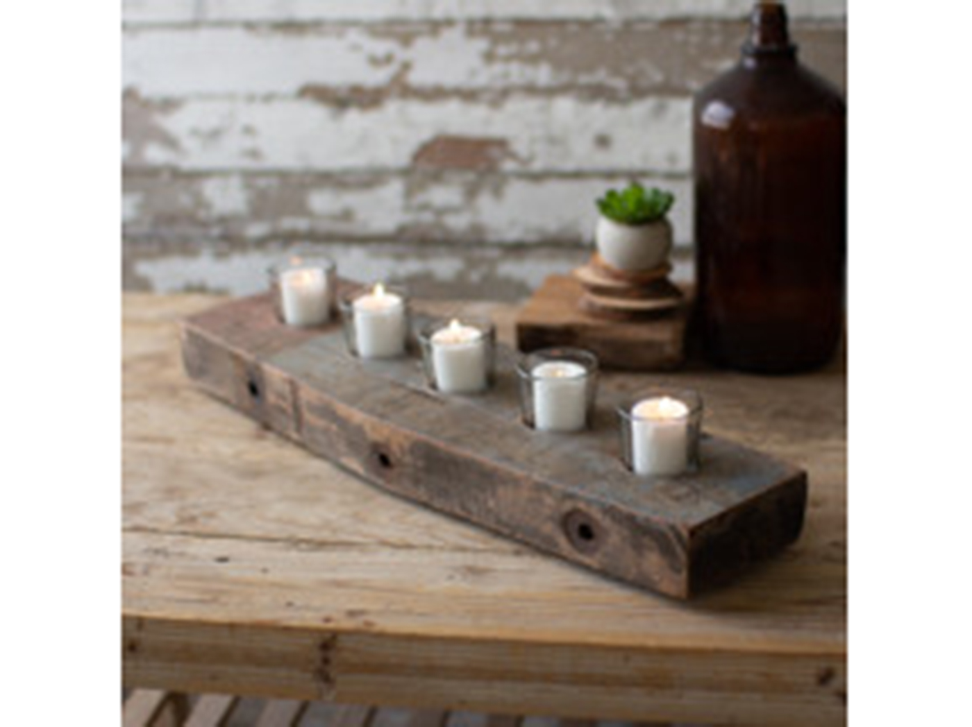 "5 Light Recycled Wood Beam Candleholder 6.5""W x 22.5""L"