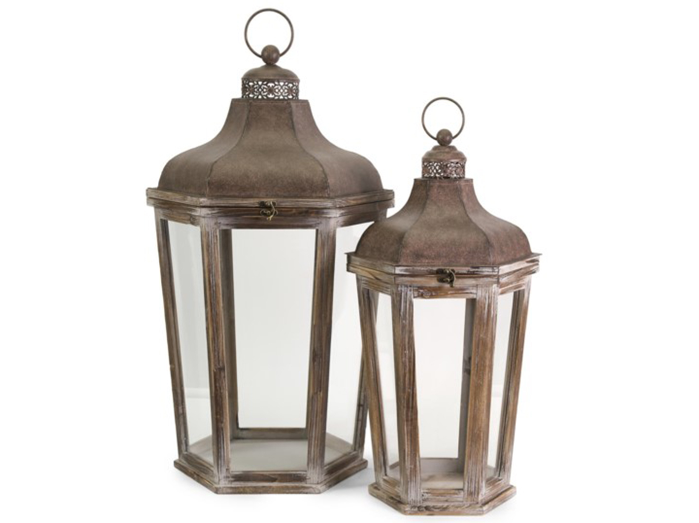 "Set of 2 Antique Iron and Glass Lantern 28/32""H"