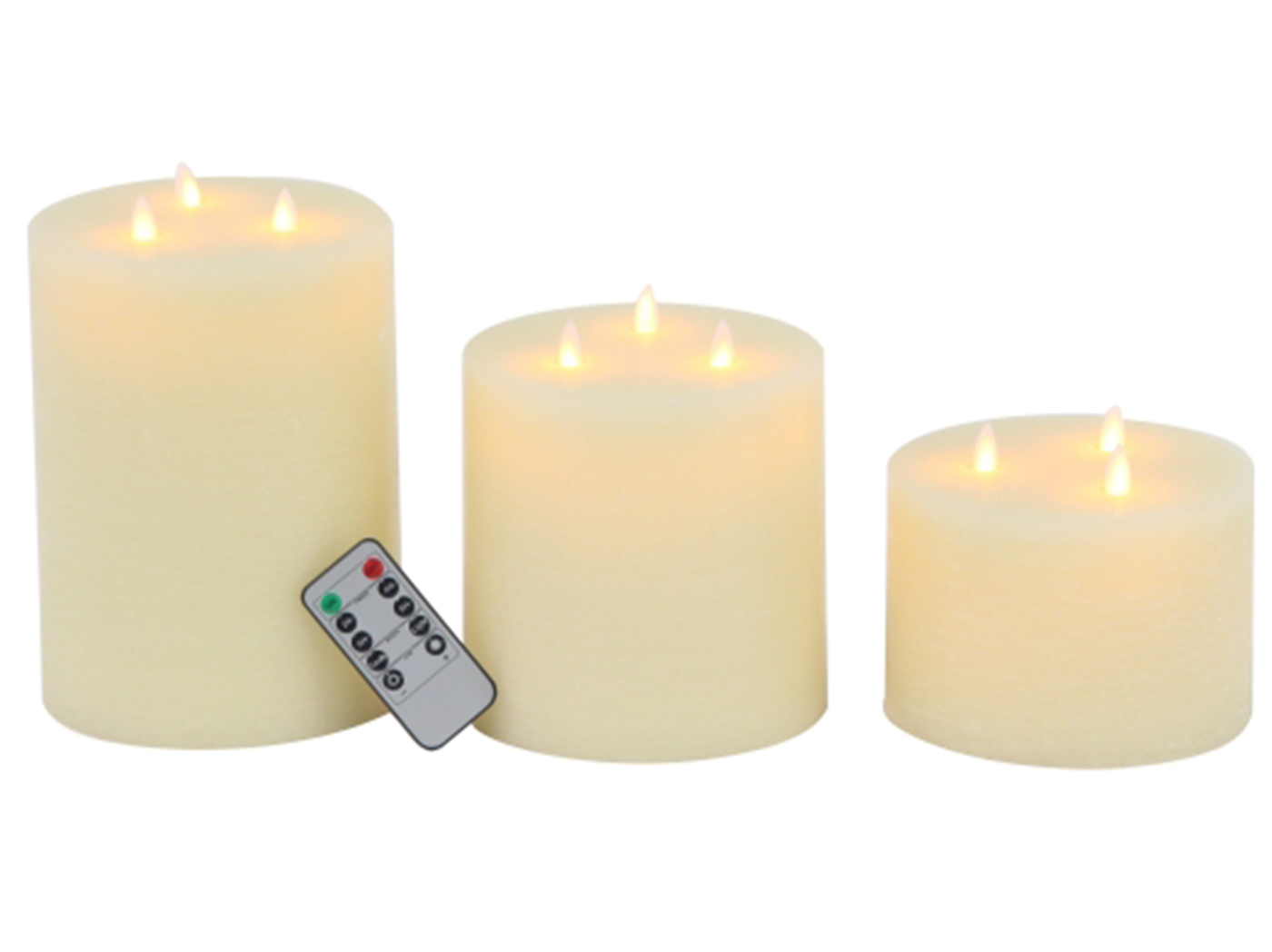 "Set of 3 Tri-Light Flameless Wax LED Candles 4""/6""/8""H"