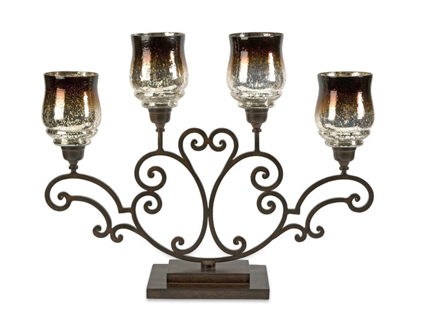 Chocolate and Mercury Glass Candelabra