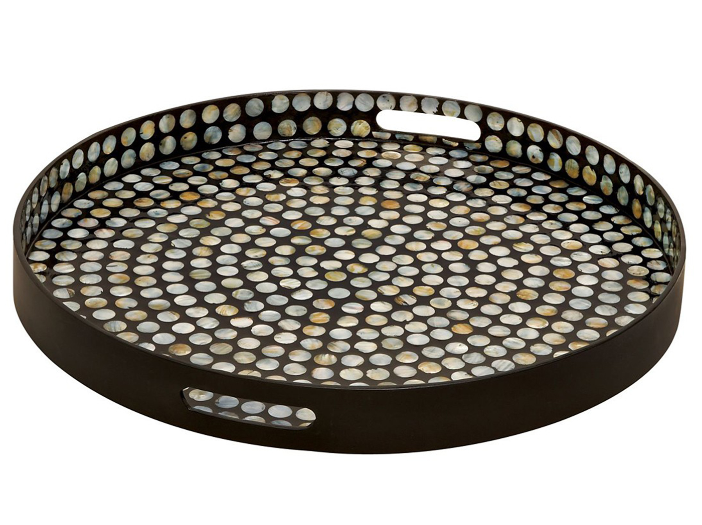 "Wood and Shell Round Tray 23""Dia"