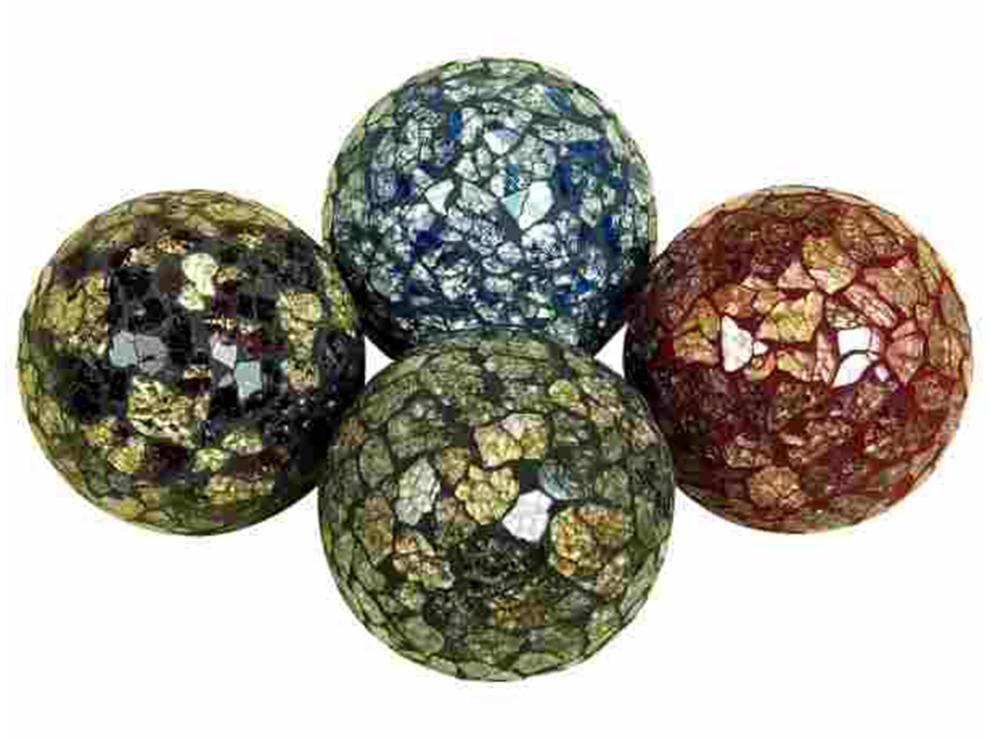 Set of 4 Decorative Mosaic Orbs 4""