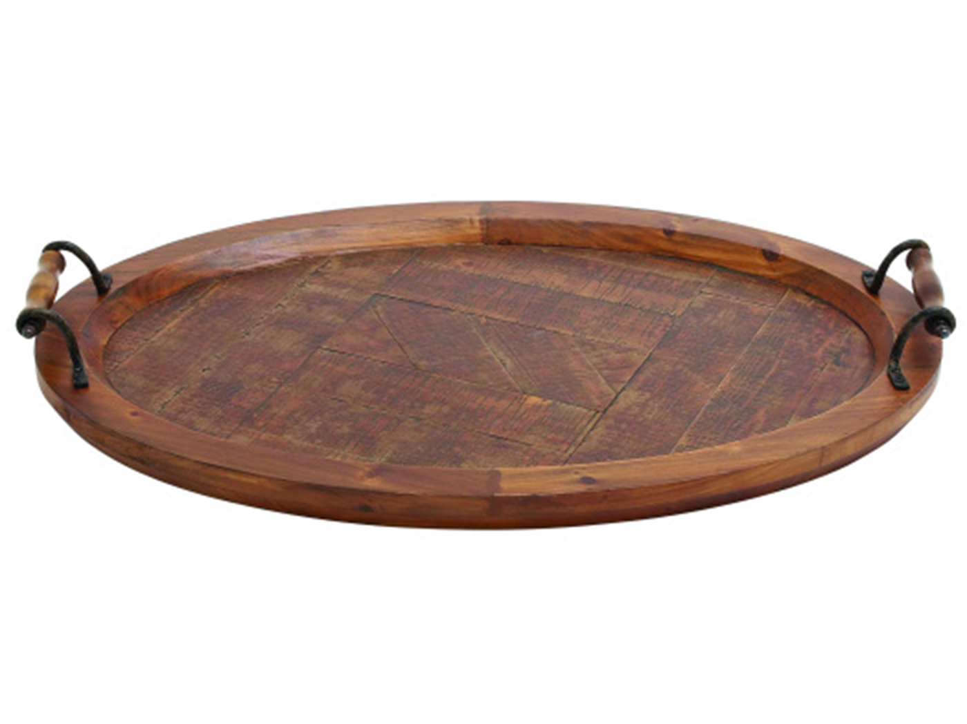 "Round Wood Ottoman Tray With Metal Handels 29""W x 4""H"