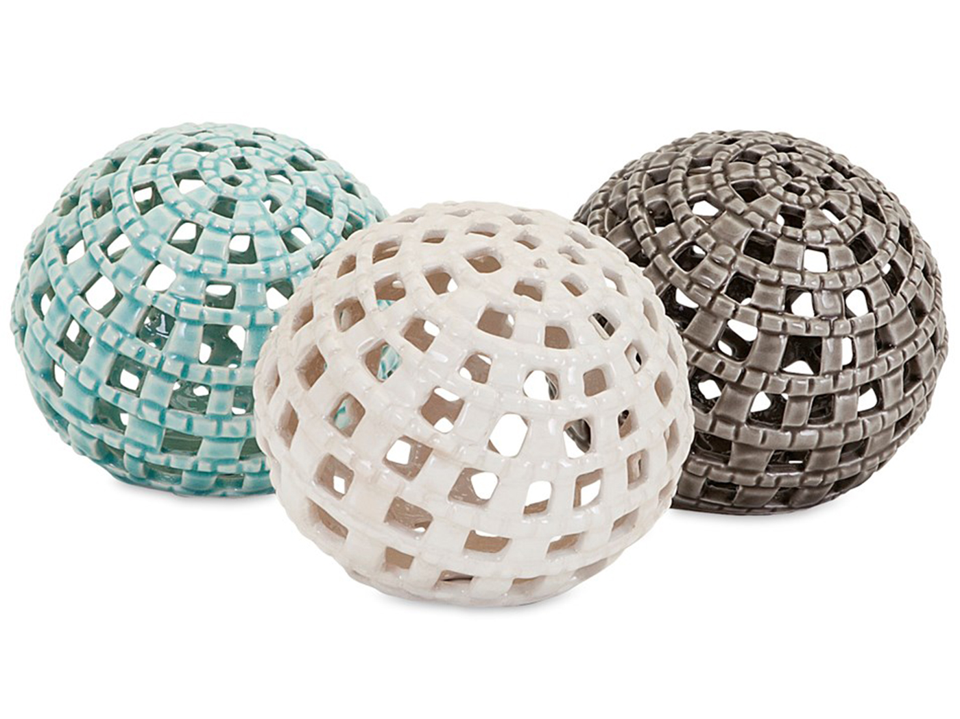 Assorted Blue Cream or Gray Ceramic Orb 4.5""