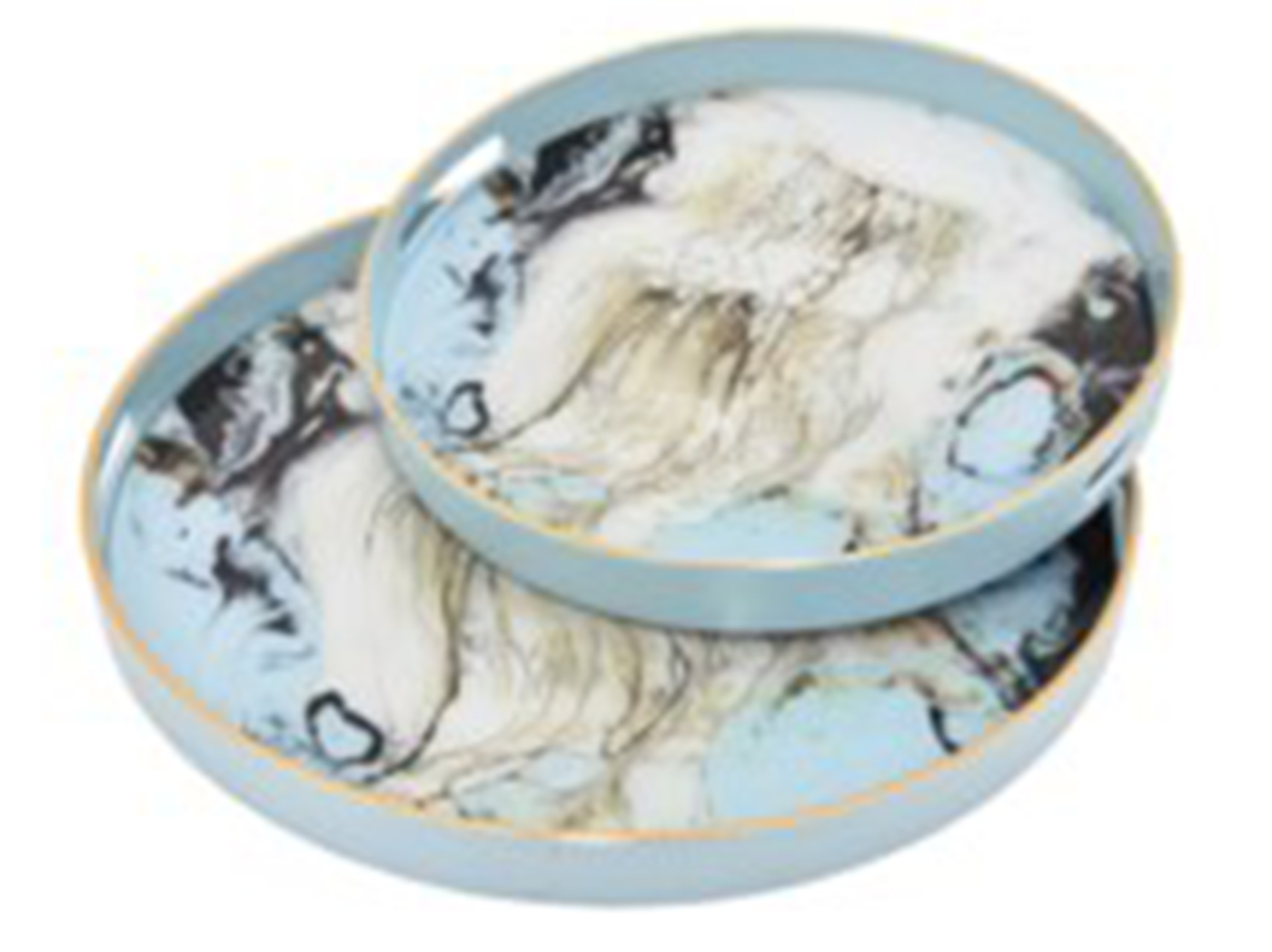 "Set of 2 Blue Marbled Round Trays 14"" and 18"""