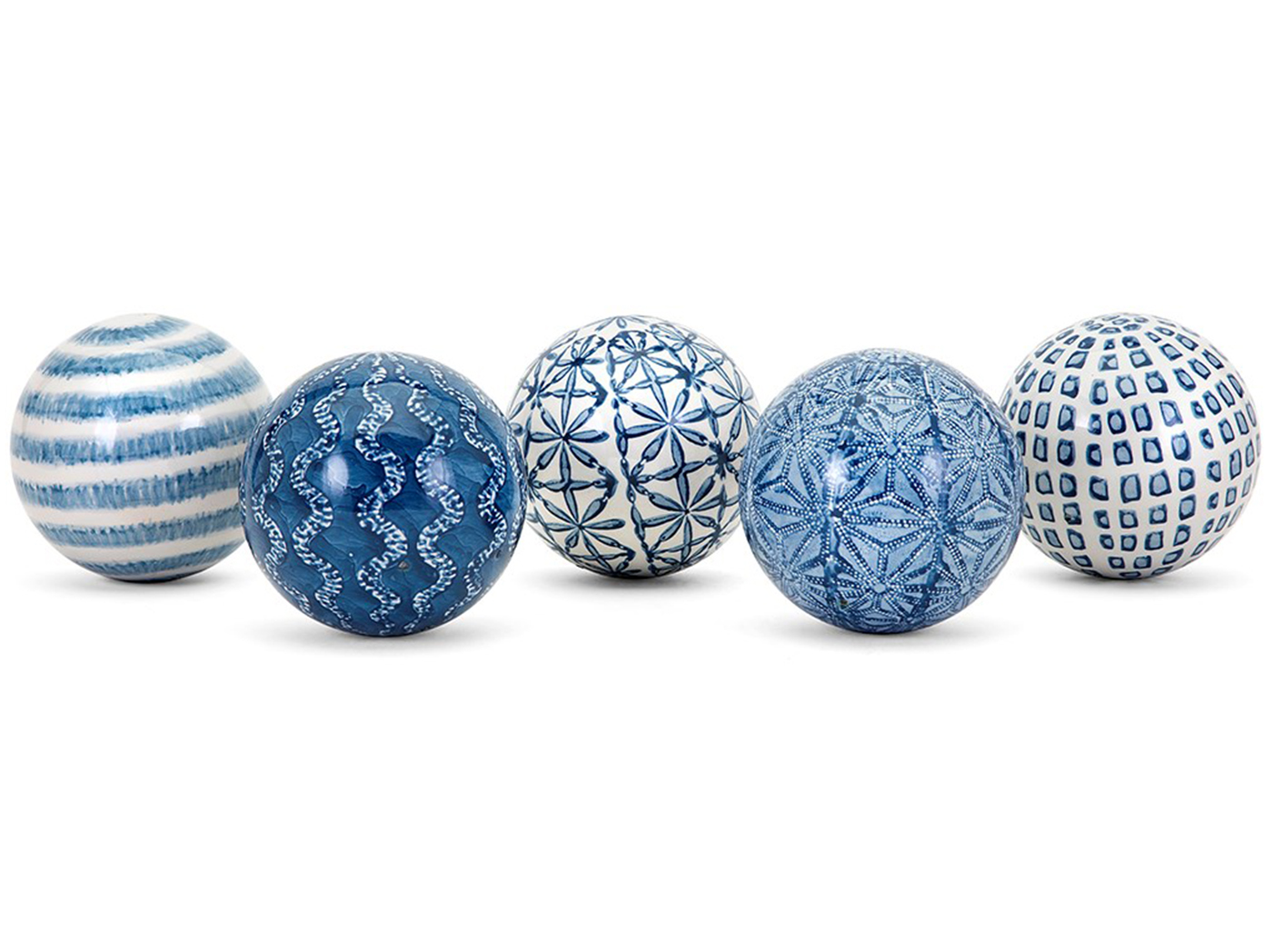 Assorted Blue and White Ceramic Deco Balls 4.25""