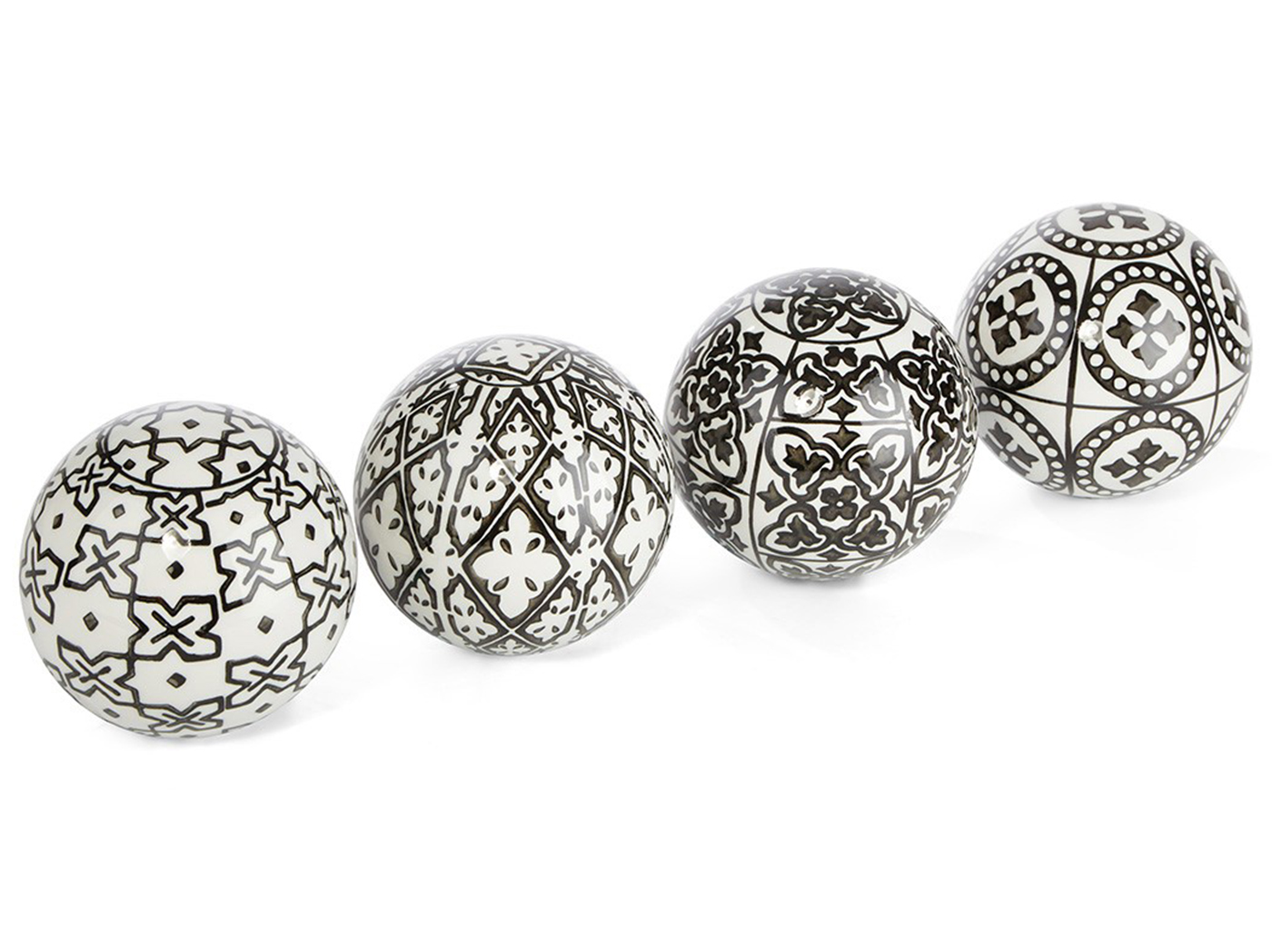 Assorted Black and White Ceramic Deco Ball 4""