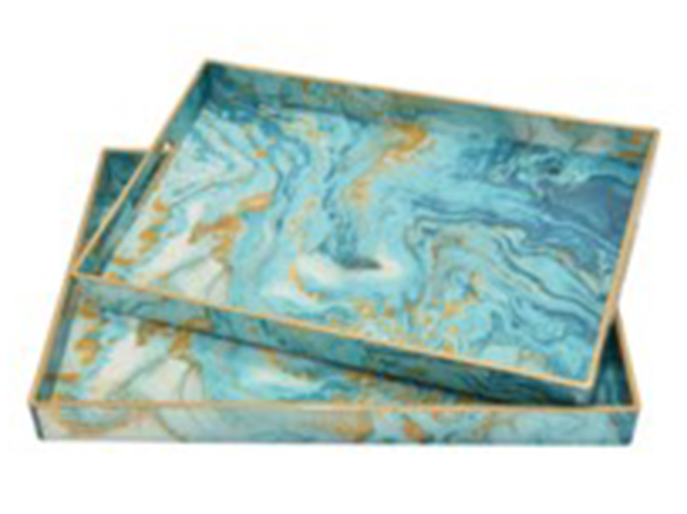 "Set of 2 Blue and Tan Marbled Trays 12""/14""L"