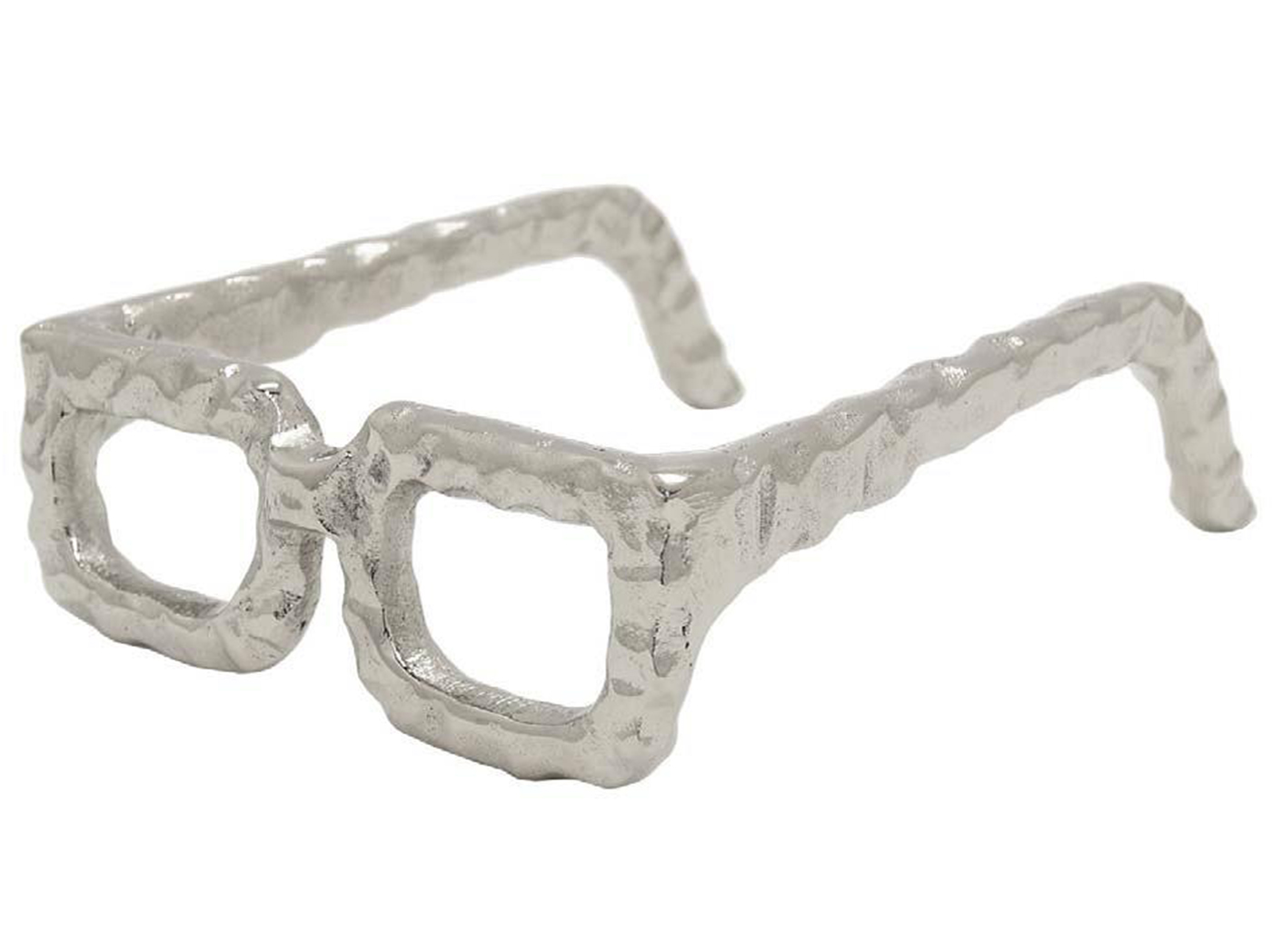 "Silver Squared Framed Eye Glasses Decor 7.5""W x 2""H"