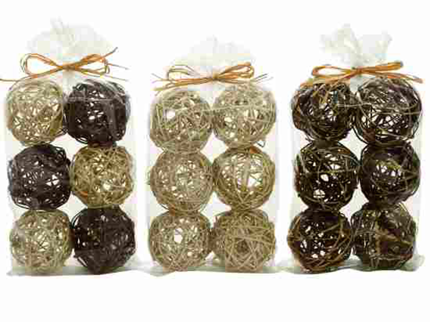 Set of 6 Assorted Natural Decorative Balls 4""