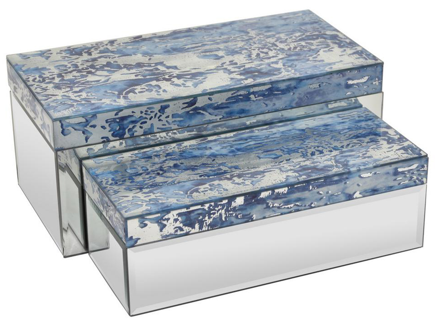 "Set of 2 Blue Mirrored Glass Boxes 14""W x 6""H"