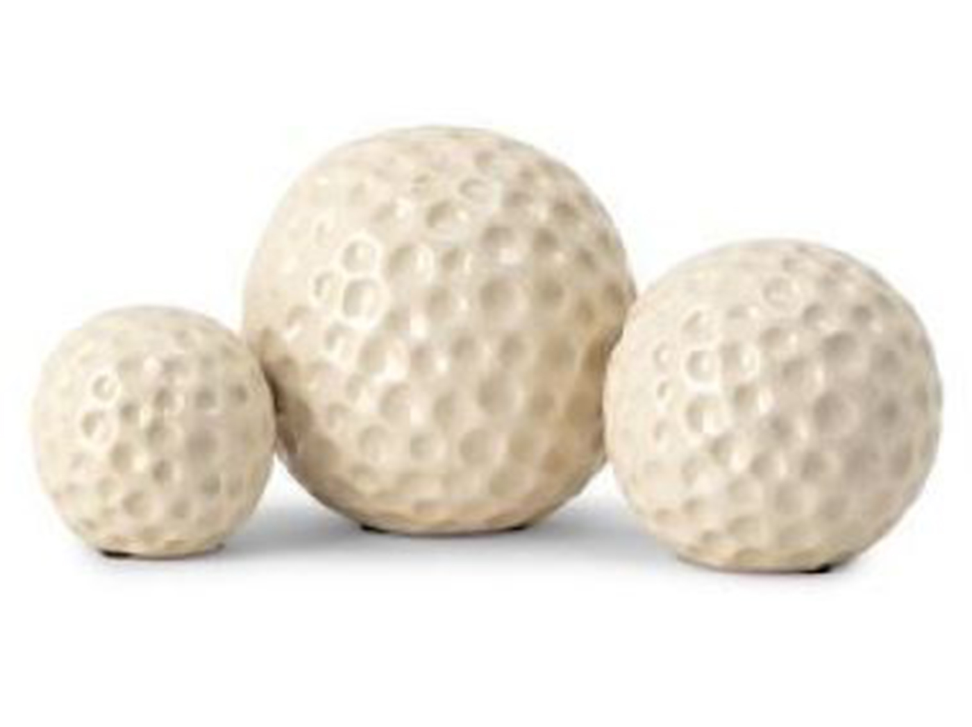 "Set of 3 Cream Ceramic Orbs 3""-4""-5""Dia."