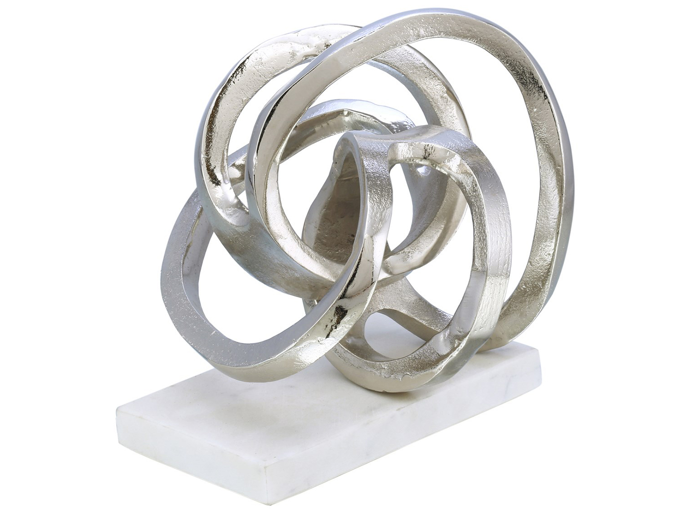 "Silver Swirl Sculpture on Marble Base 9""W x 9.5""H"