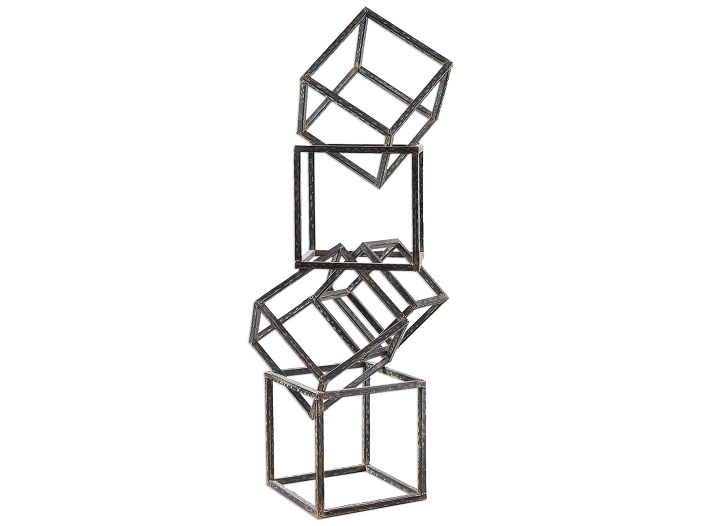 "Iron Cubes Sculpture 17""W x 36""H"