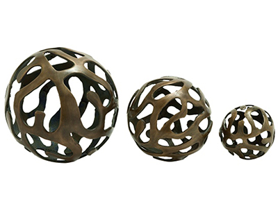 Set of 3 Bronze Alum Deco Balls 8/6/4""