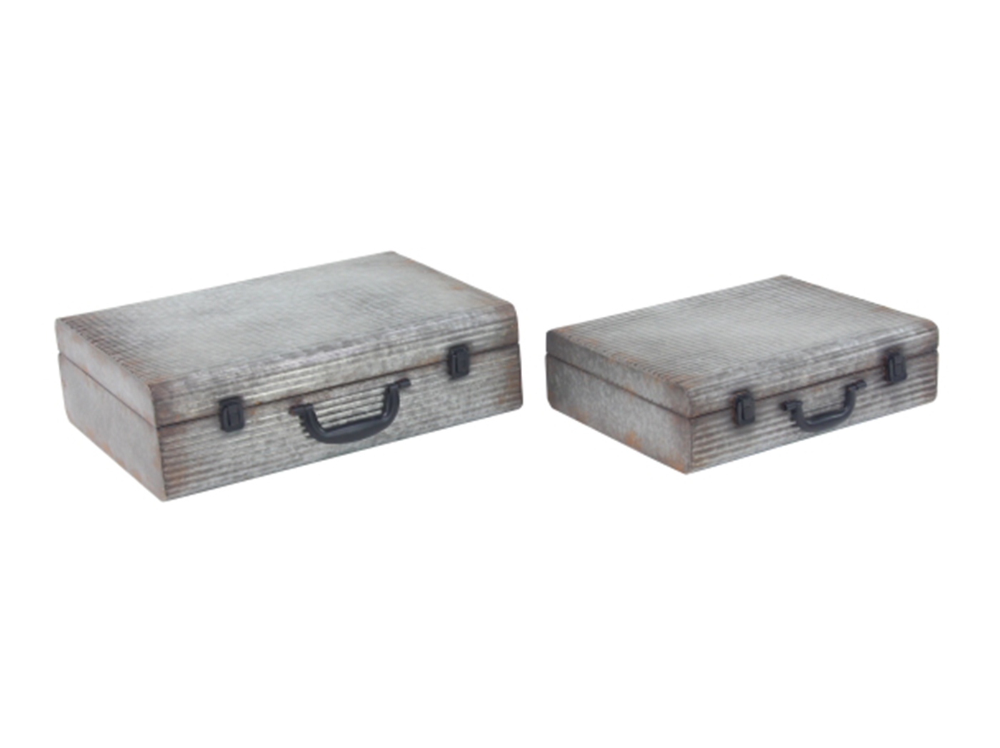 "Set of 2 Galvanized Metal Boxes 16/20""W"