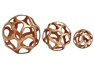 Set of 3 Copper Alum Deco Balls 8/6/4""