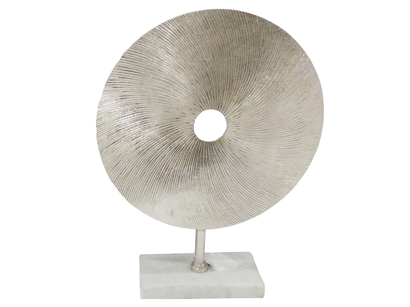 "Silver Textures Disc Sculpture on Stand 14X4X18""H"