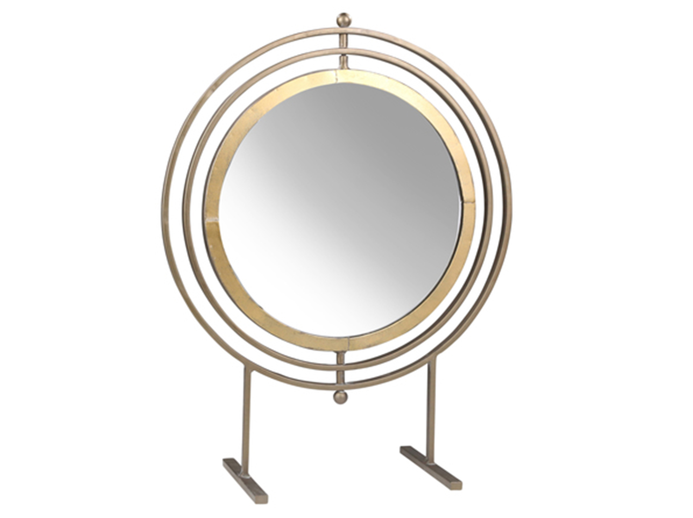 "Round Gold Finish Metal Tabletop Mirror 16.5""W x 21.25""H"