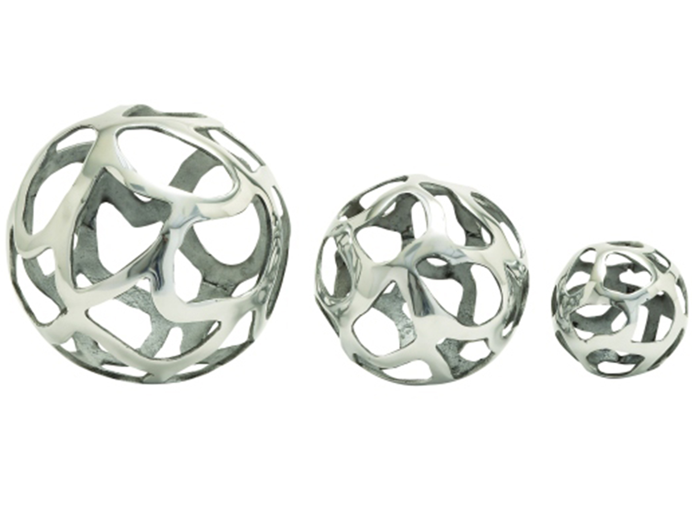 Set of 3 Silver Decorative Orb 8""