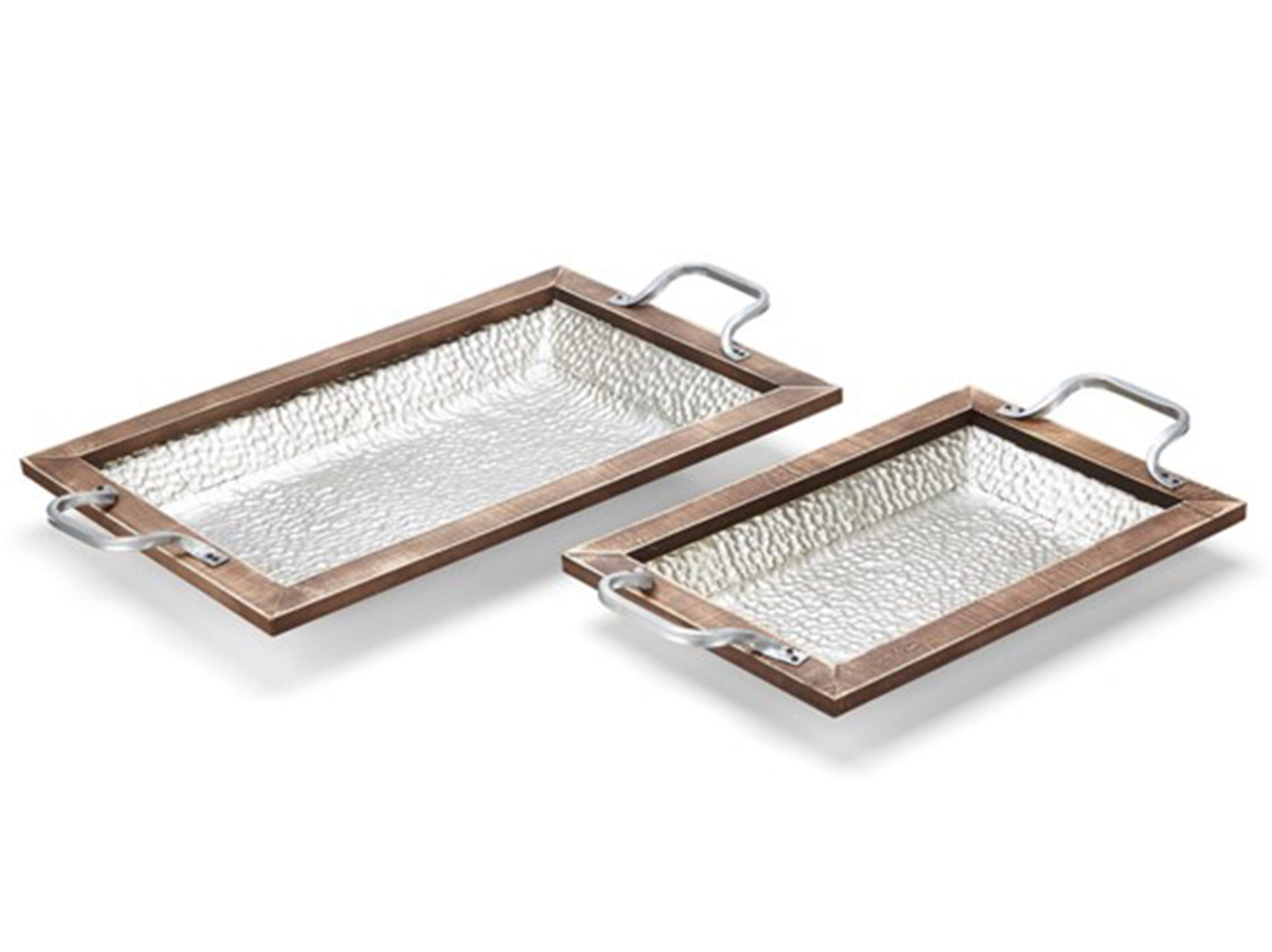 "Set of 2 Rectangle Metal and Wood Trays 13/16""W x 20/28""L"