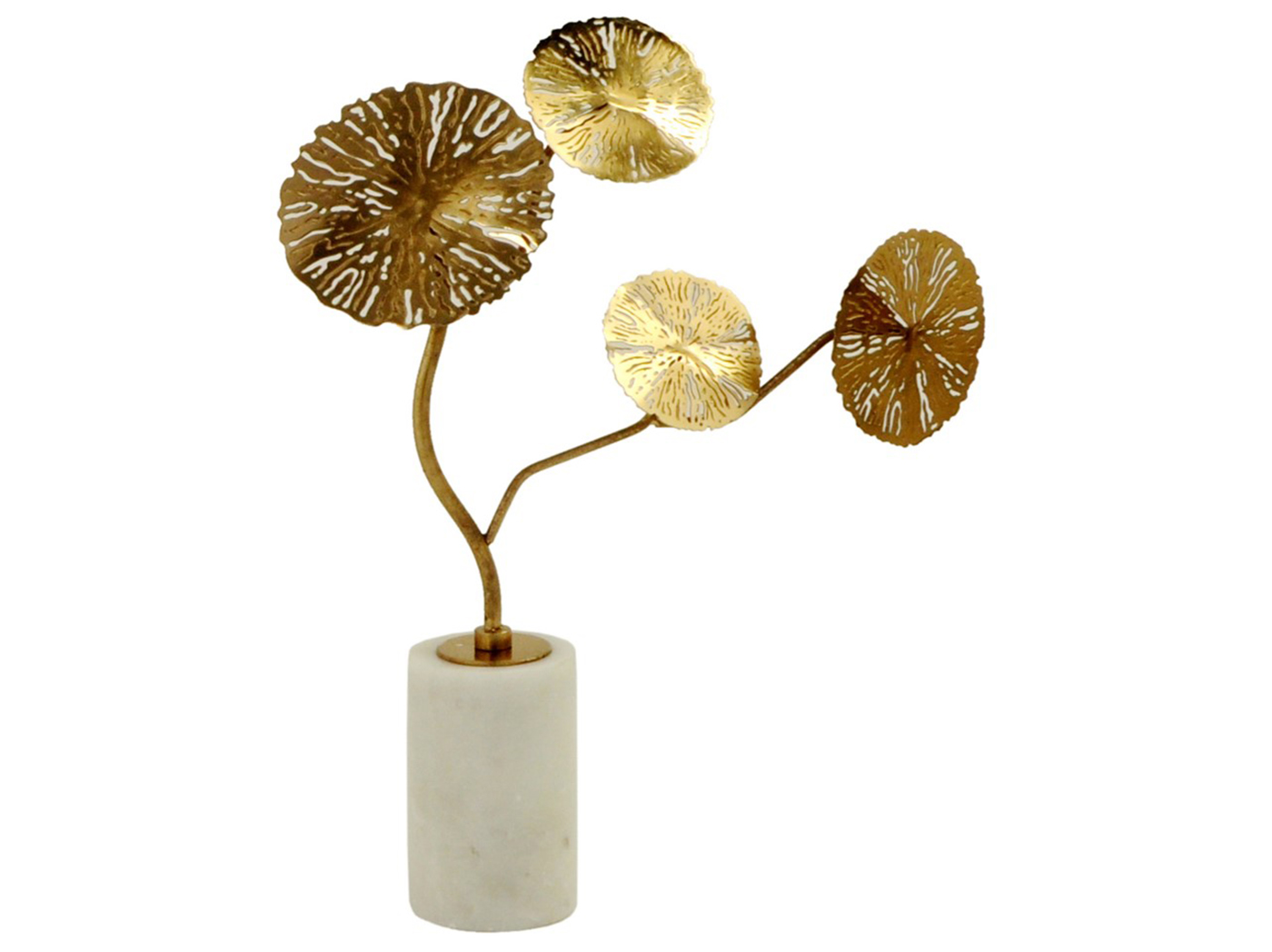 "Small Gold Metal Finish Flower Sculpture 2.8""W x 12""H"