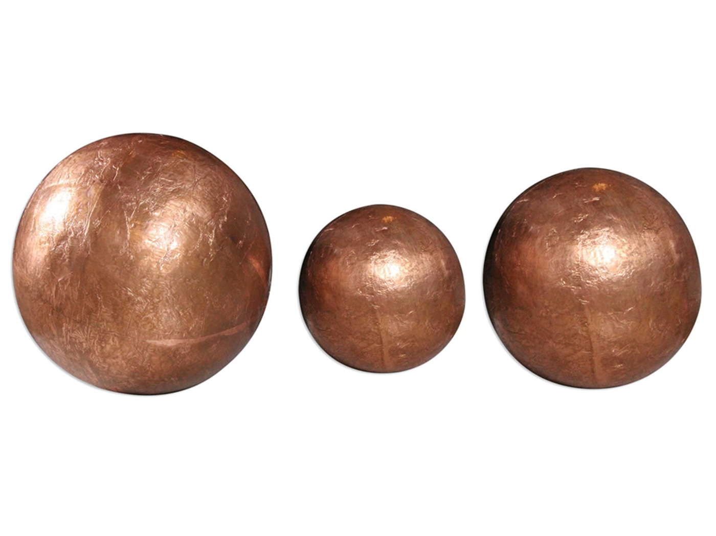 "Set of 3 Copper Spheres 15""H"