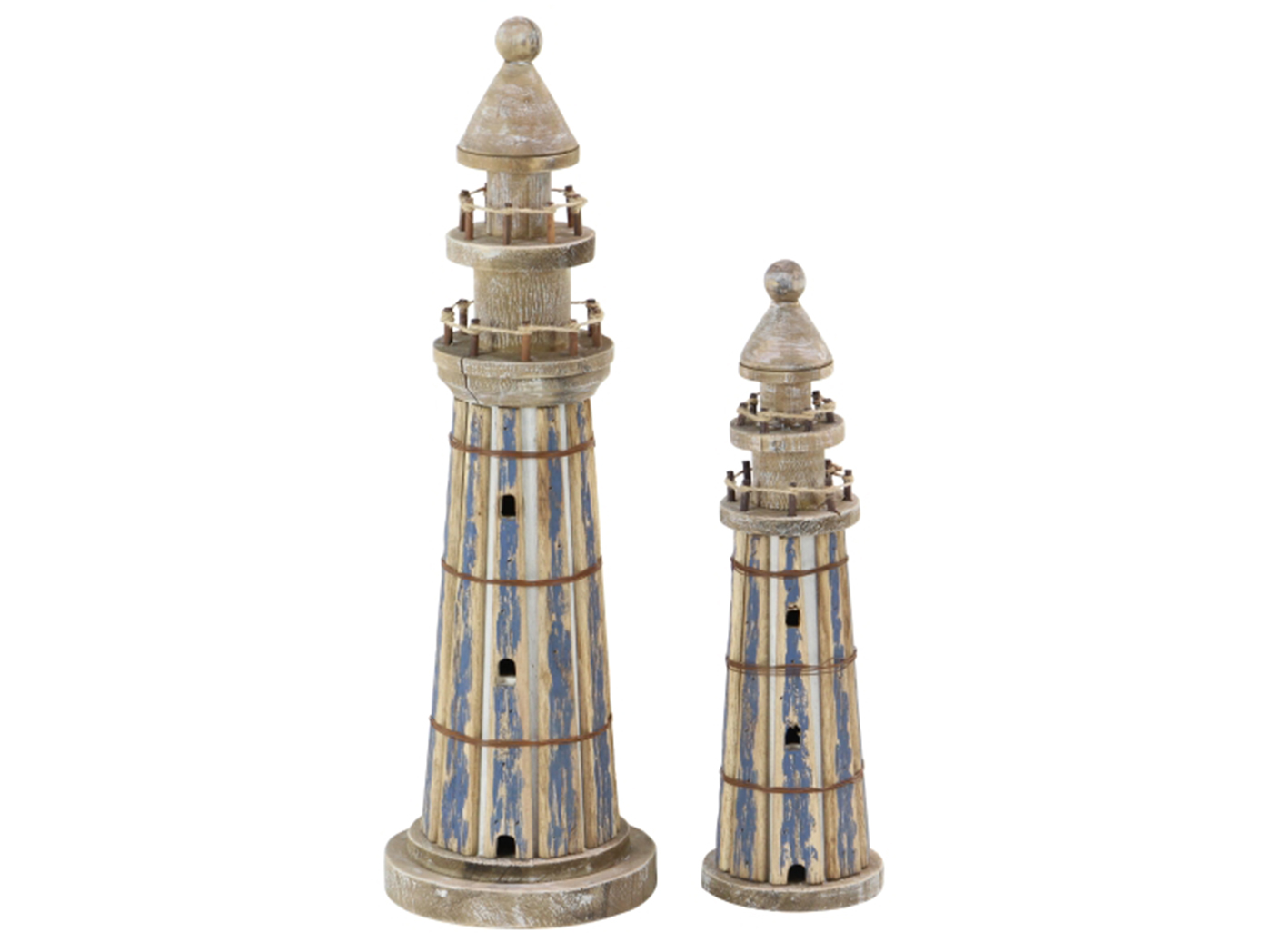 "Set/2 Wood Lighthouses 15""H / 20""H"